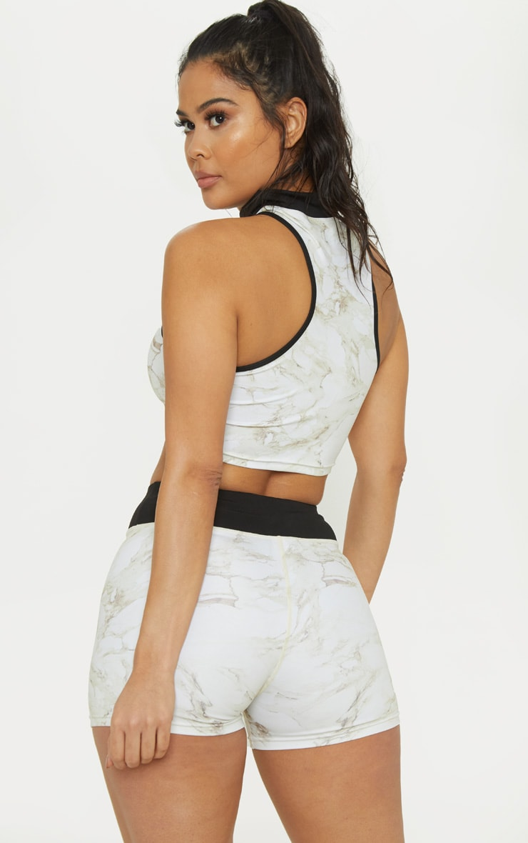 PRETTYLITTLETHING Marble Racer Crop Top 2
