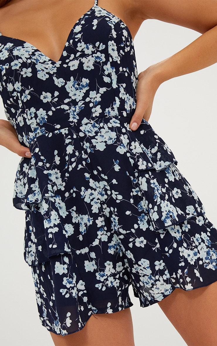 Navy Floral Ruffle Skirt Playsuit 5