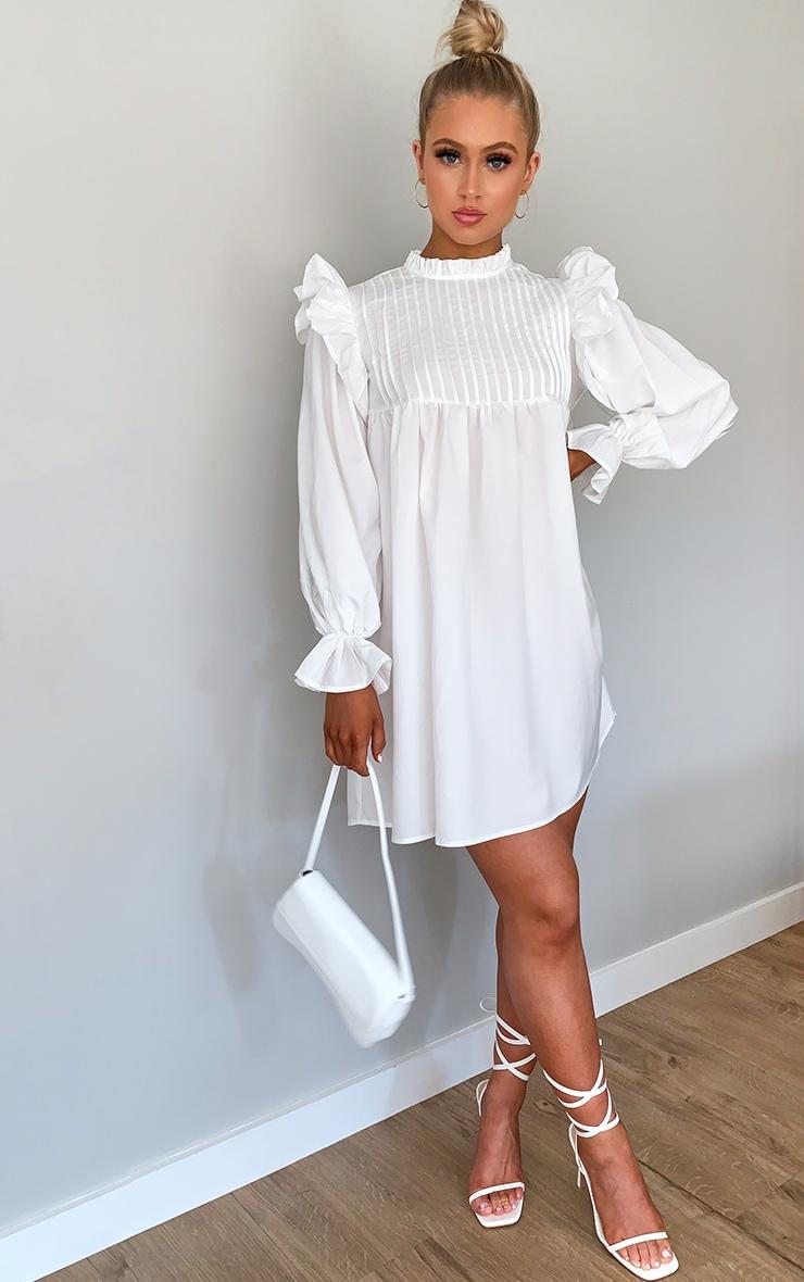 White Ruffle Binding Detail Shirt Dress 3