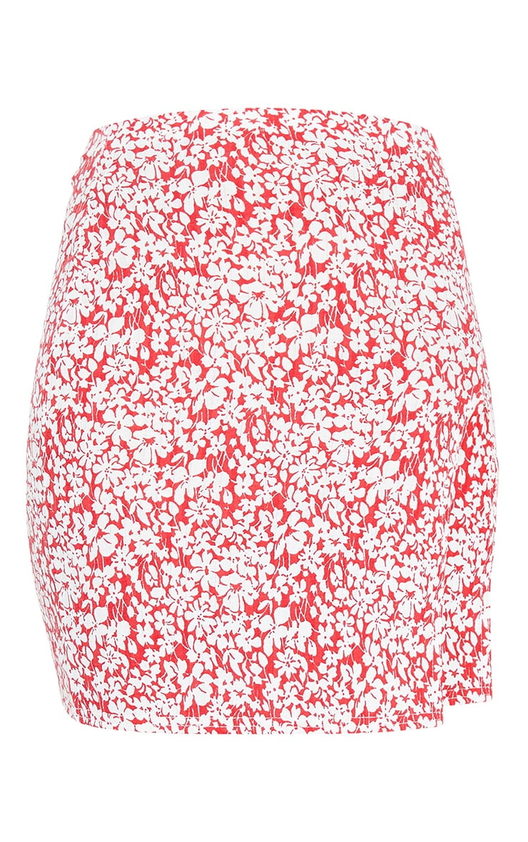 Red Floral Print Rib Split Mini Skirt 6
