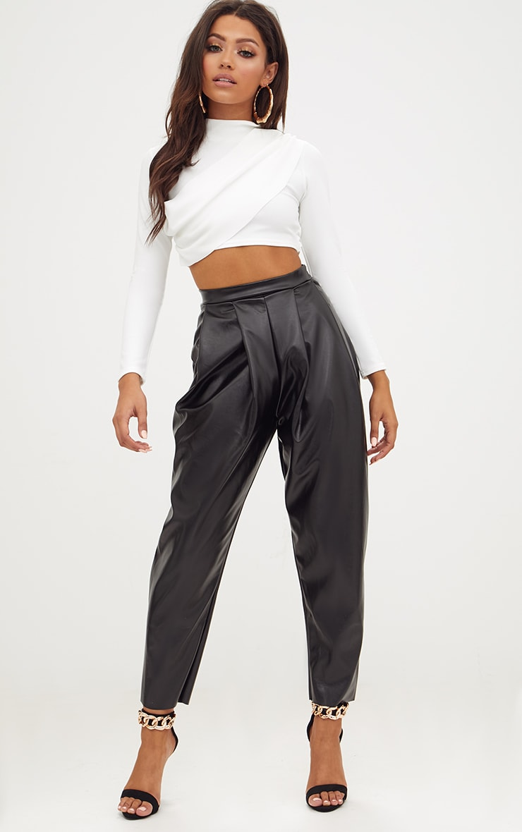 White Crepe Wrap Front Longsleeve Crop Top 4
