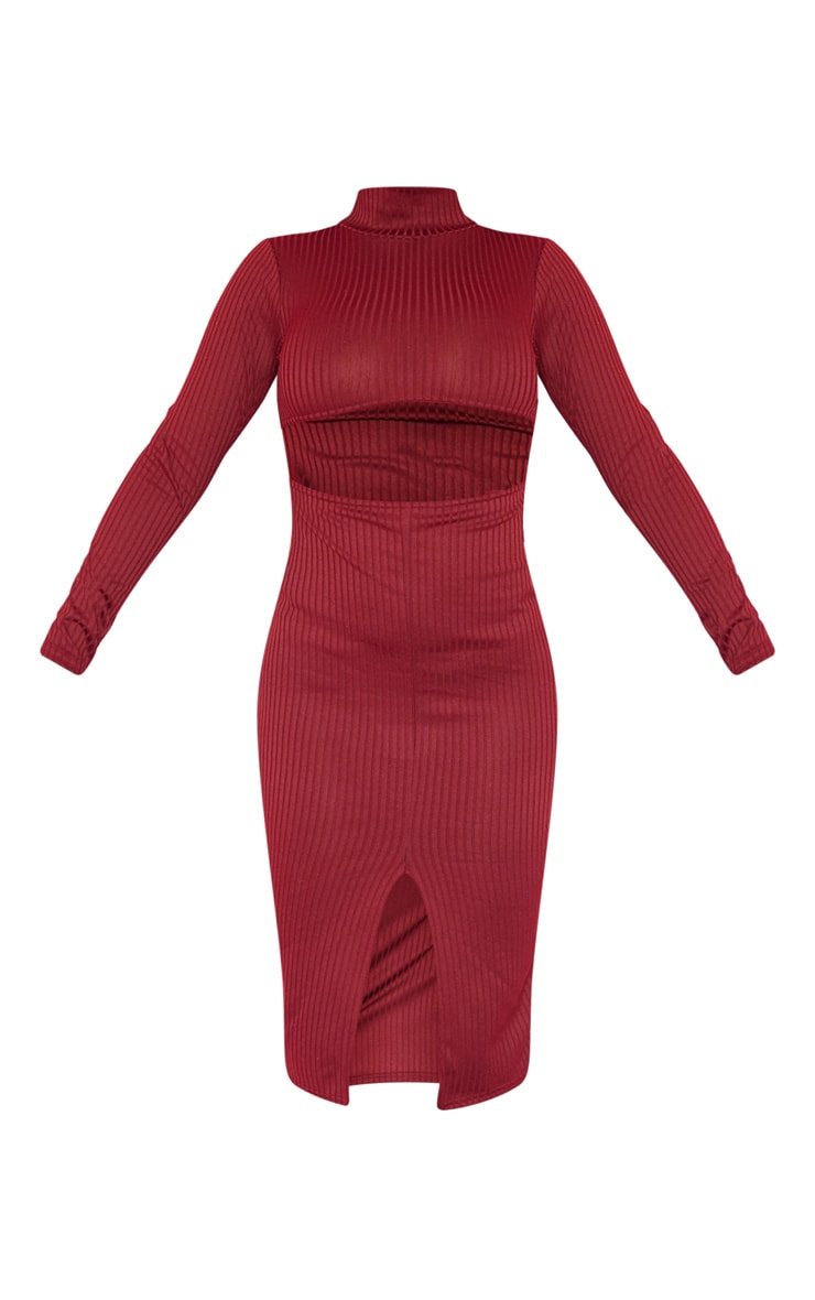Burgundy Rib High Neck Cut Out Split Front Midi Dress 3