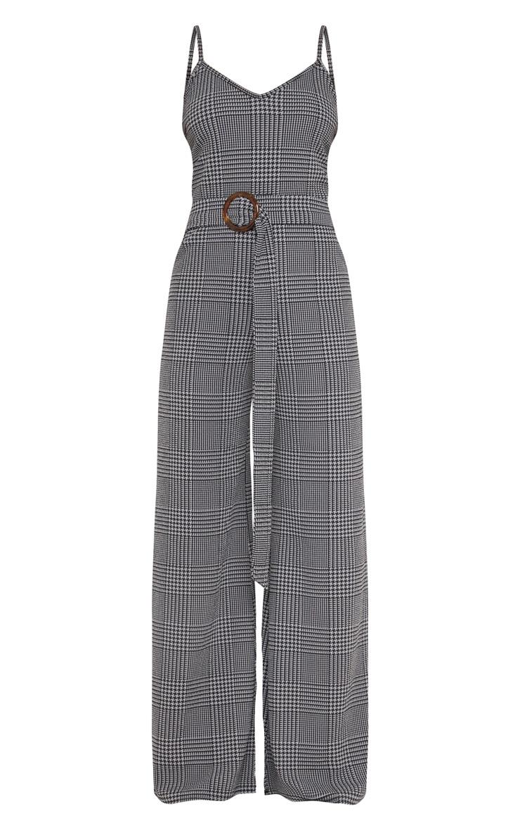 Petite Grey Checked Tortoise Belt Wide Leg Jumpsuit 3
