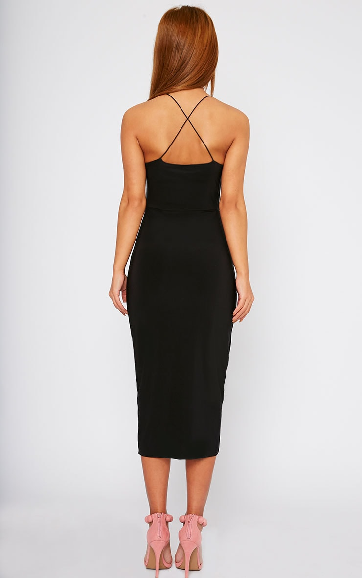 Deanna Black Slinky Cross Back Midi Dress 2