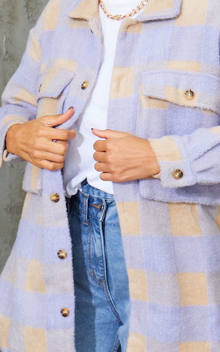 Lilac Checked Wool Look Oversized Shacket 4