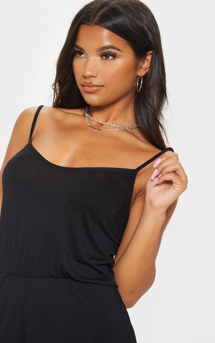 Black Strappy Jersey Playsuit 5