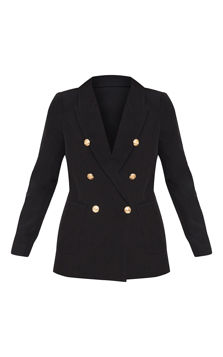 Pari Black Double Breasted Military Style Blazer 3