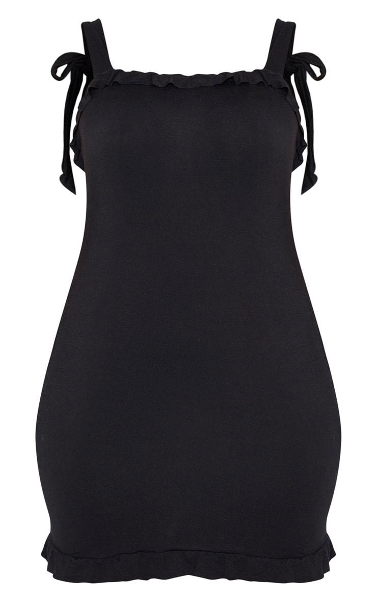 Plus Black Frill Tie Shoulder Bodycon Dress 3