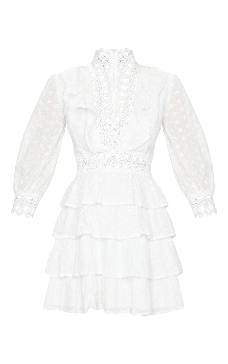 White Lace Trim Broderie Anglaise Tiered Skater Dress 5