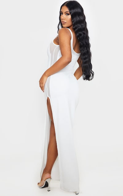 White Sleeveless Mesh Insert Split Detail Maxi Dress
