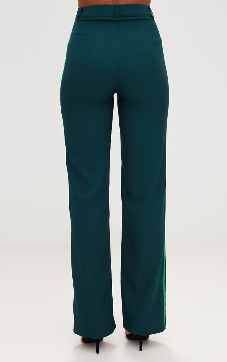 Dark Green Track Stripe High Waisted Straight Leg Trousers 4