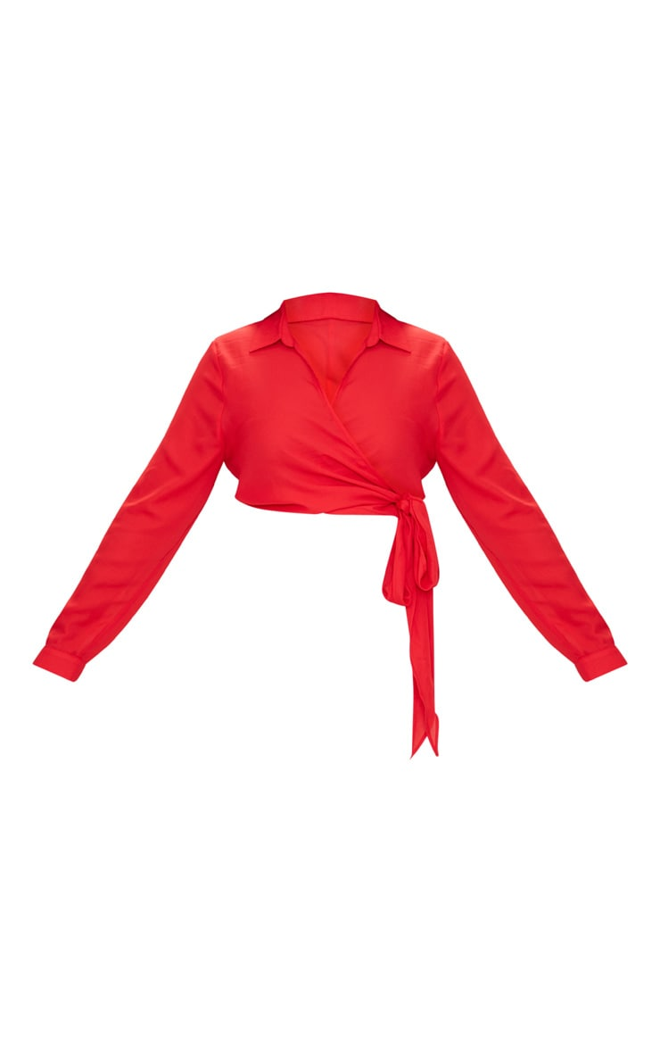 Plus Red Wrap Front Tie Side Top 3