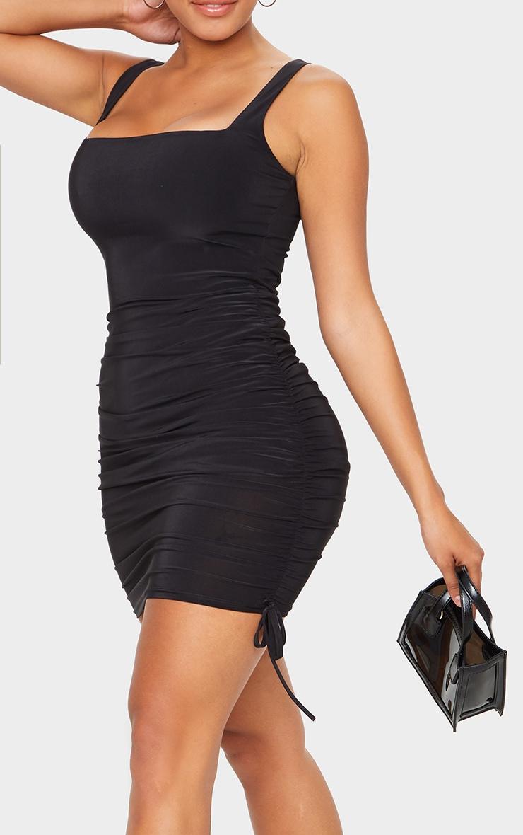 Shape Black Slinky Ruche Side Bodycon Dress 4