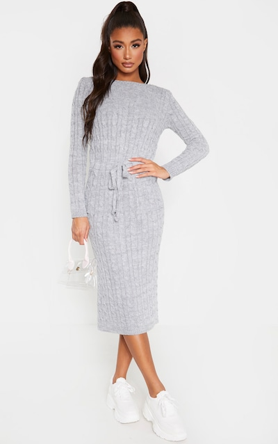 Light Grey Cable Knit Tie Waist Midi Jumper Dress