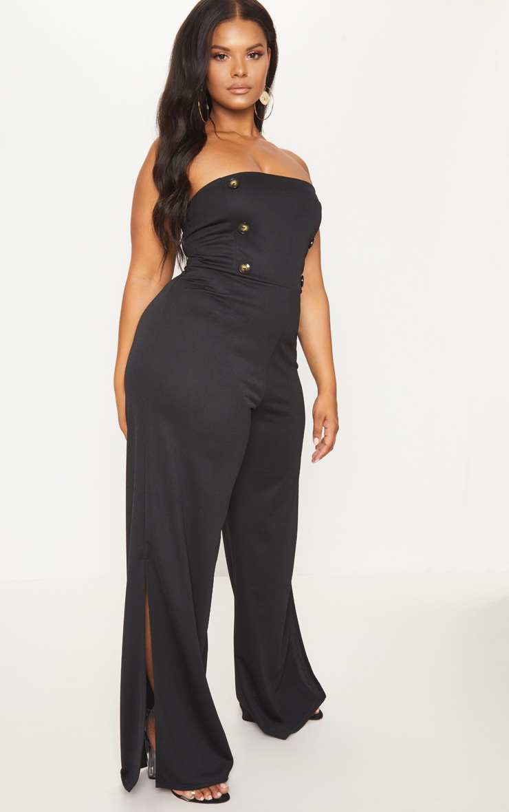 Plus Black Button Detail Bandeau Wide Leg Jumpsuit 4