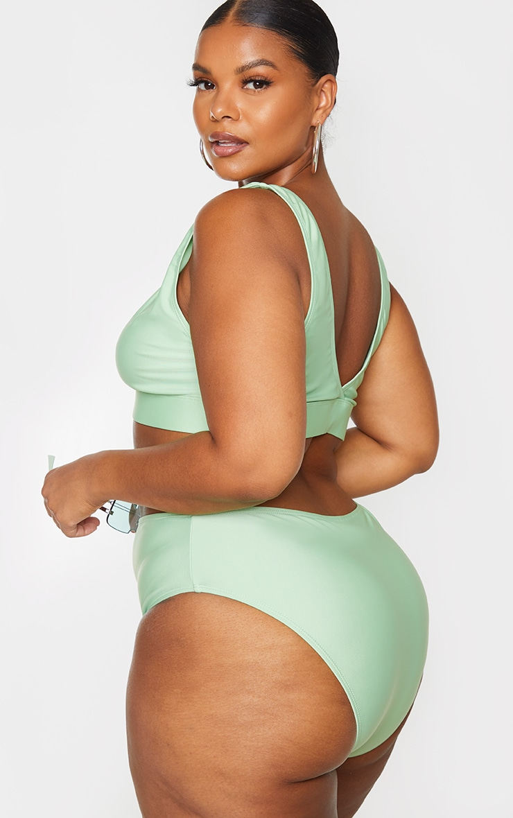 Plus Sage Green Basic Plunge Elasticated Hem Bikini Top 2