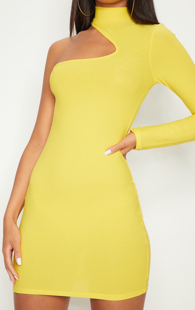 Yellow High Neck Asymmetric Sleeve Bodycon Dress 6