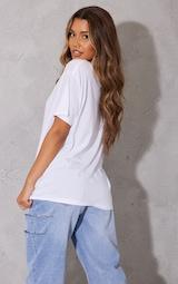 PRETTYLITTLETHING White Graphic Oversized T Shirt 2
