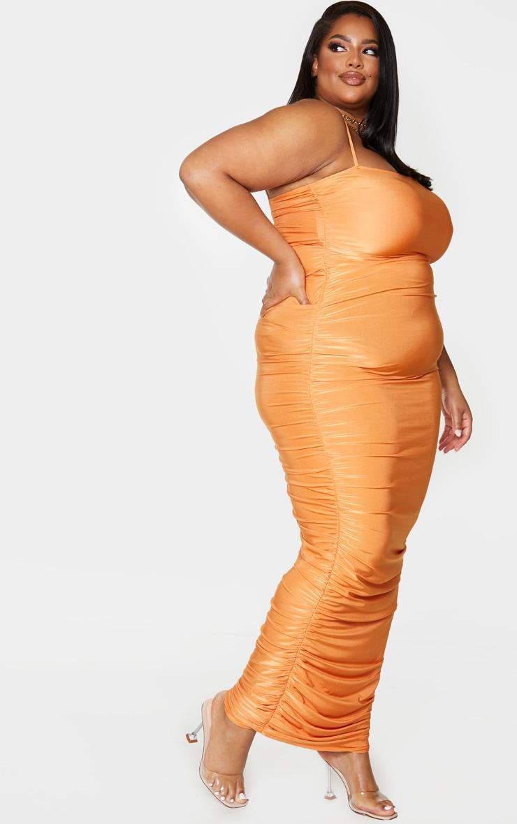 PLT Plus - Robe longue orange slinky froncée derrière à bretelles 3
