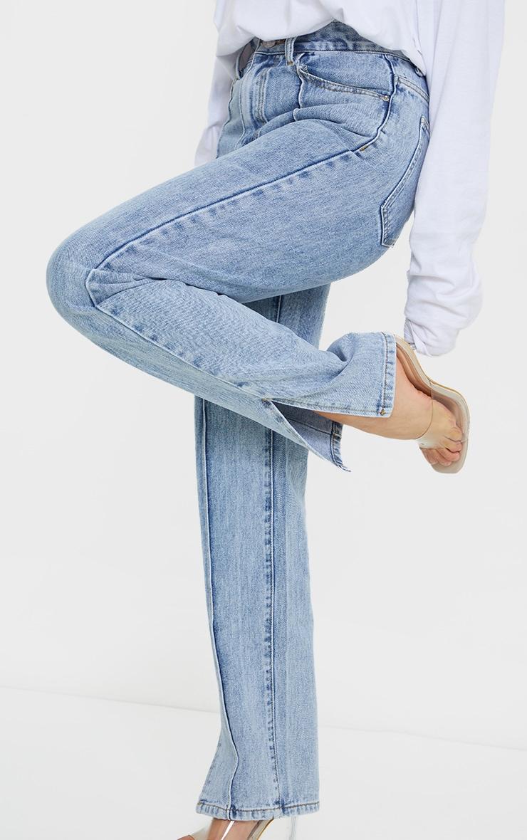 Petite Blue Front Seam Split Hem Denim Jeans 4
