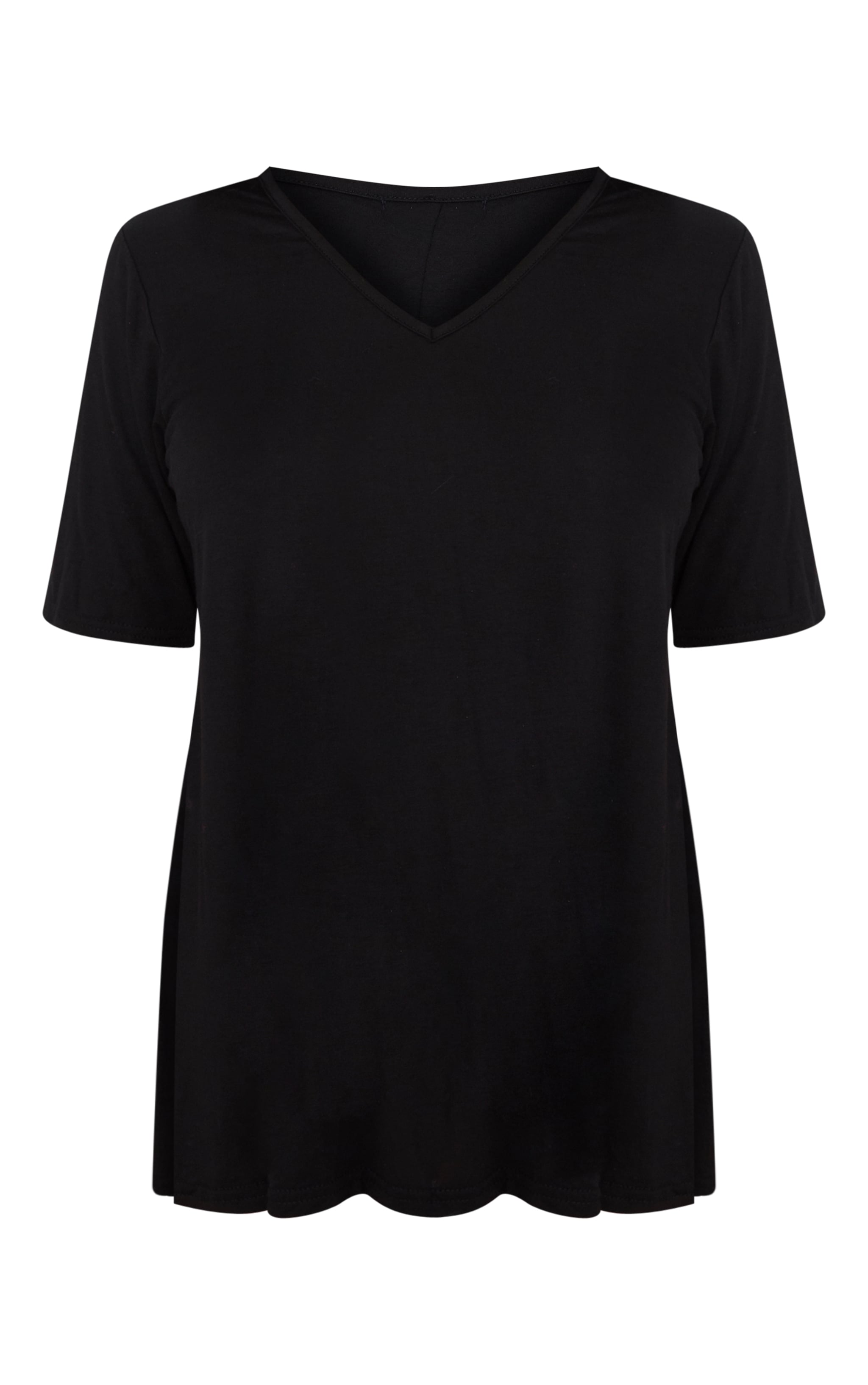Petite Black V Neck Side Split T-Shirt 3