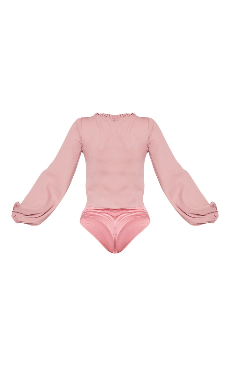 Dusty Rose Milkmaid Frill Cup Bodysuit 6