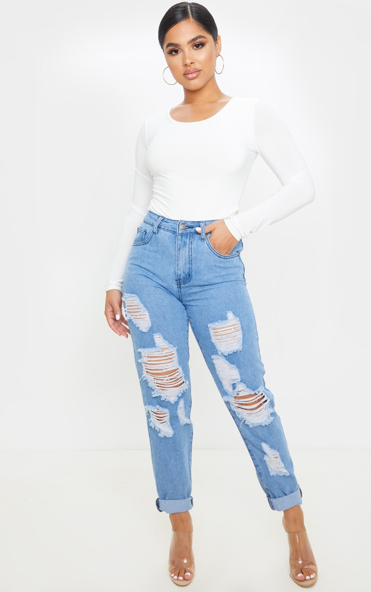 Petite Mid Wash Distressed Jean 1