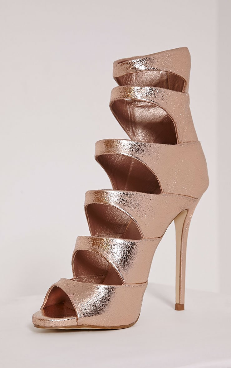 Drew Rose Gold Peep Toe Strap Detail Ankle Shoe 6