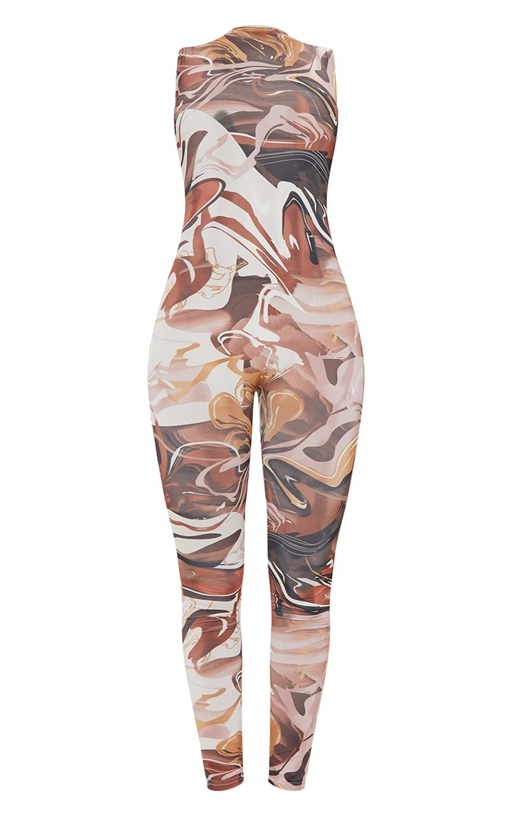Chocolate Abstract Print High Neck Sleeveless Jumpsuit 5
