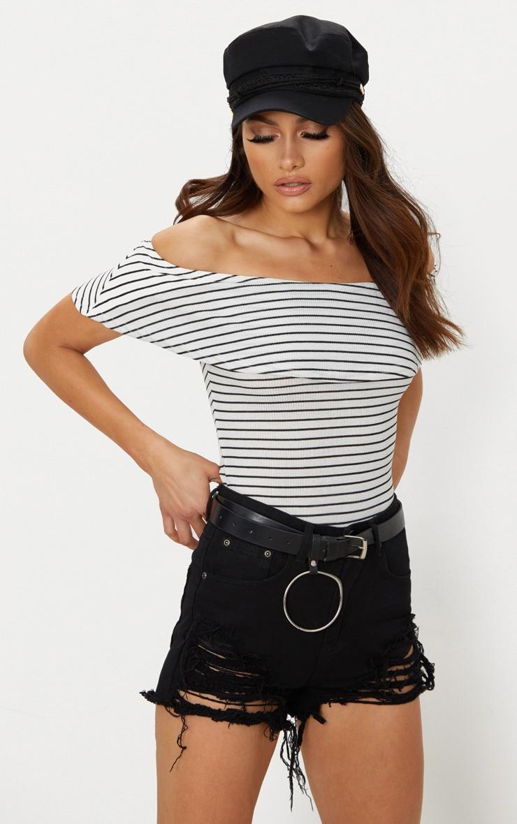 White Stripe Bardot Frill Thong Bodysuit 1