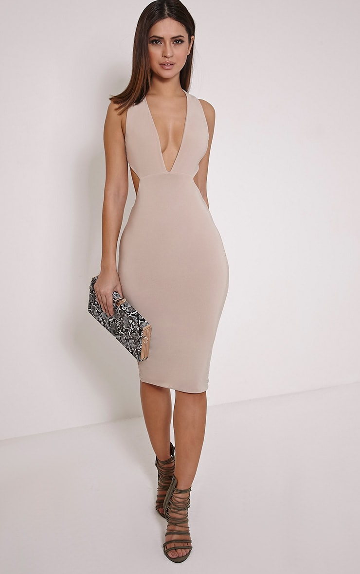 Petite Biddy Nude Deep Plunge Midi Dress 1