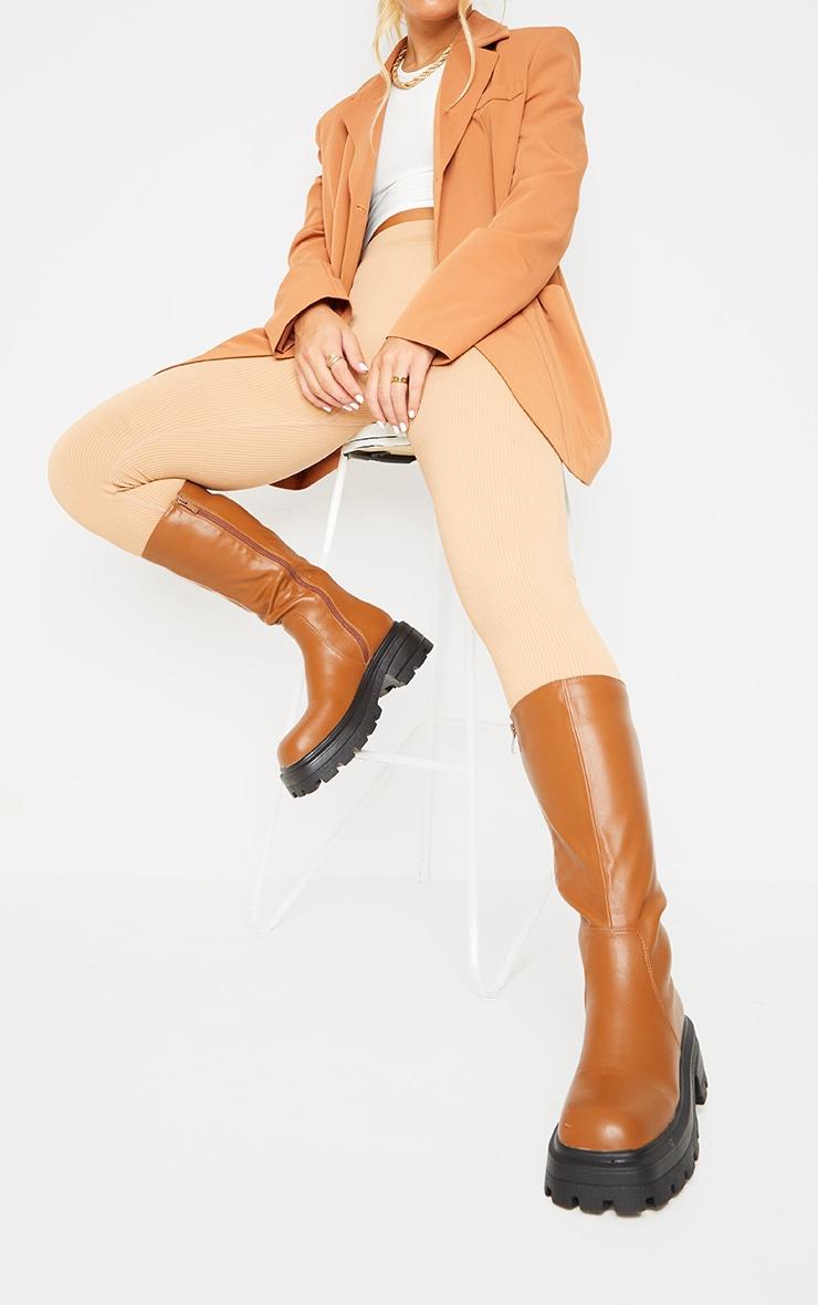 Tan PU Square Toe Knee Boots 2