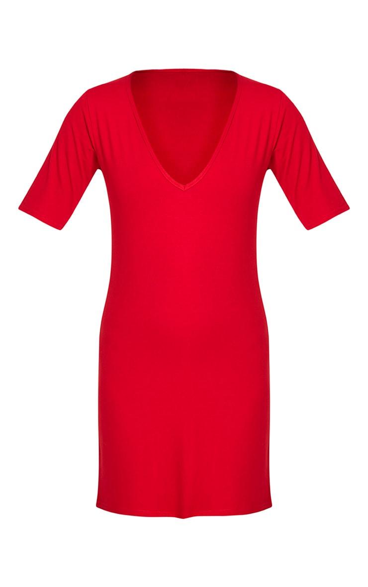 Basic Red Plunge V Neck T Shirt Dress 3