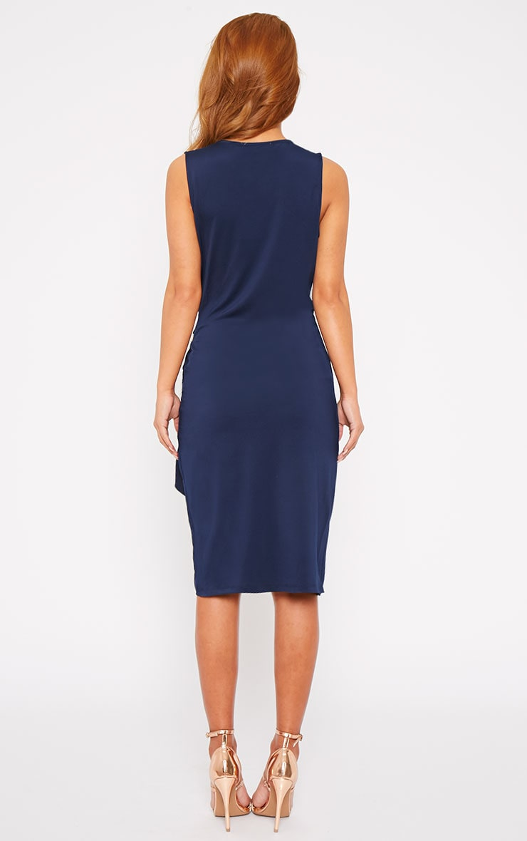 Clarissa Navy Wrap Front Midi Dress 3