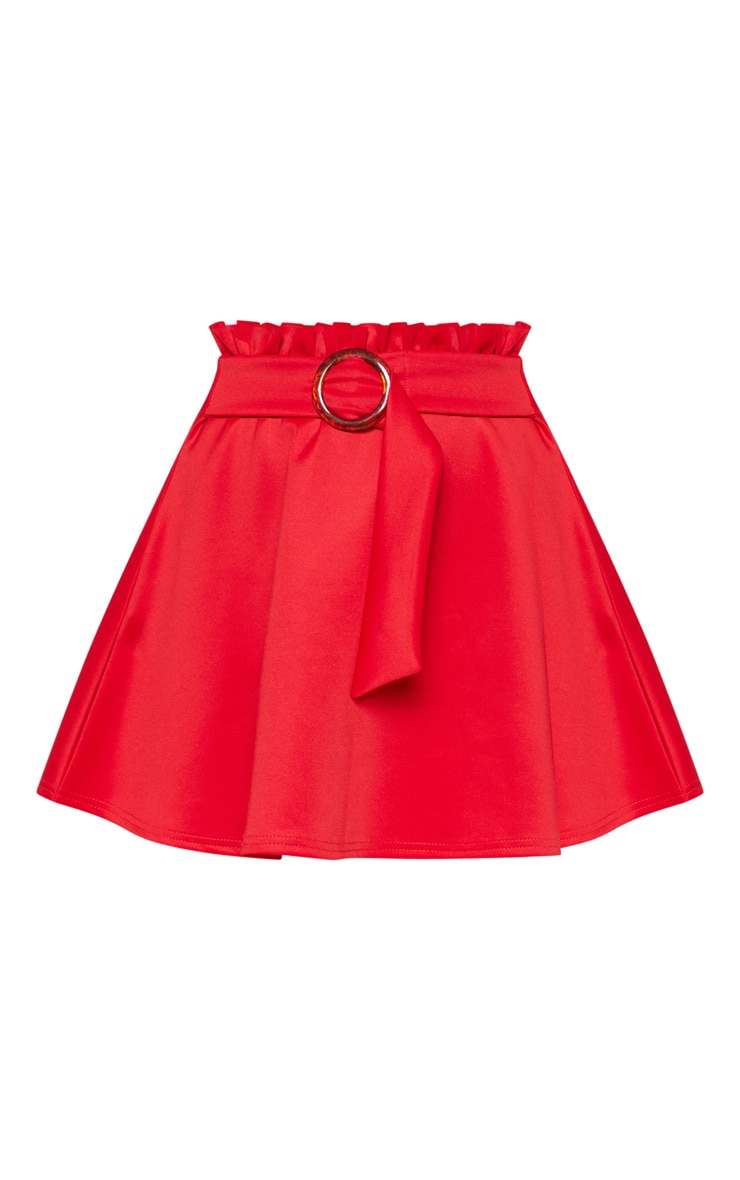 Red Paperbag Tortoise Shell Belted A Line Mini Skirt  3