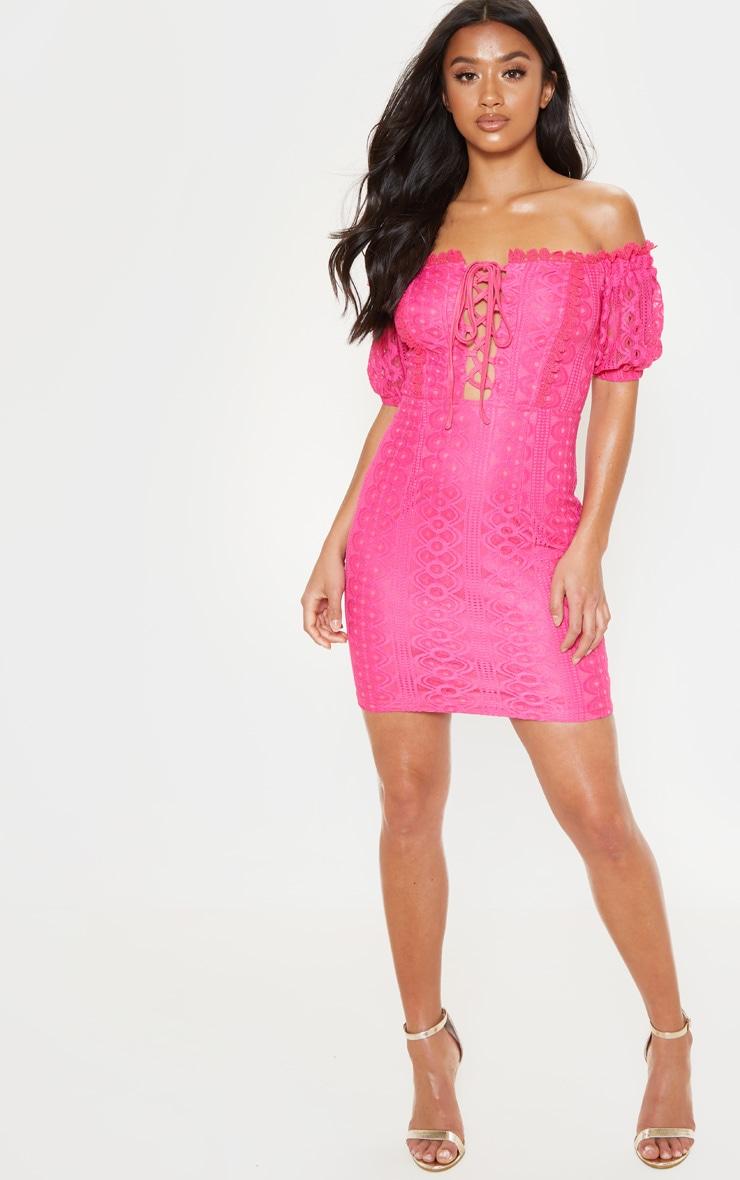 Petite Hot Pink Bardot Lace Detail Bodycon Dress 1