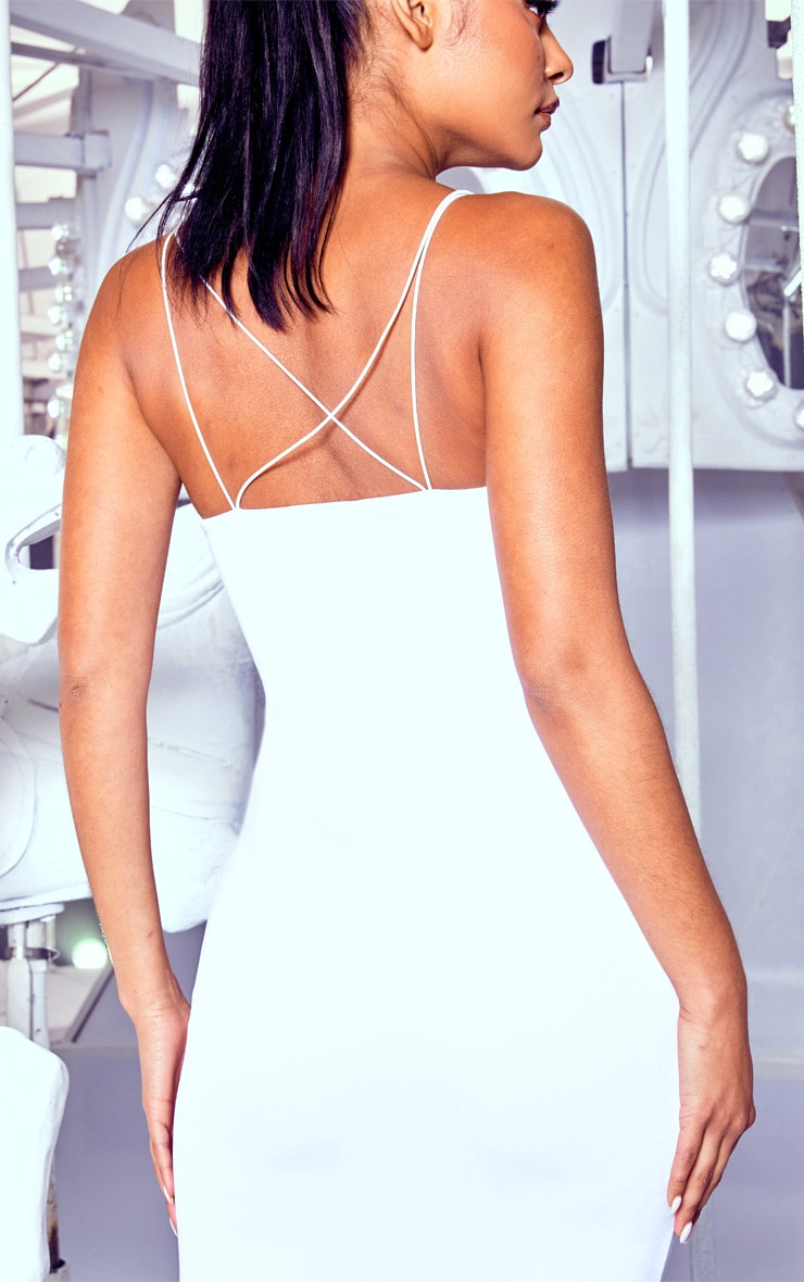 White Plunge Double Strap Midi Dress 5