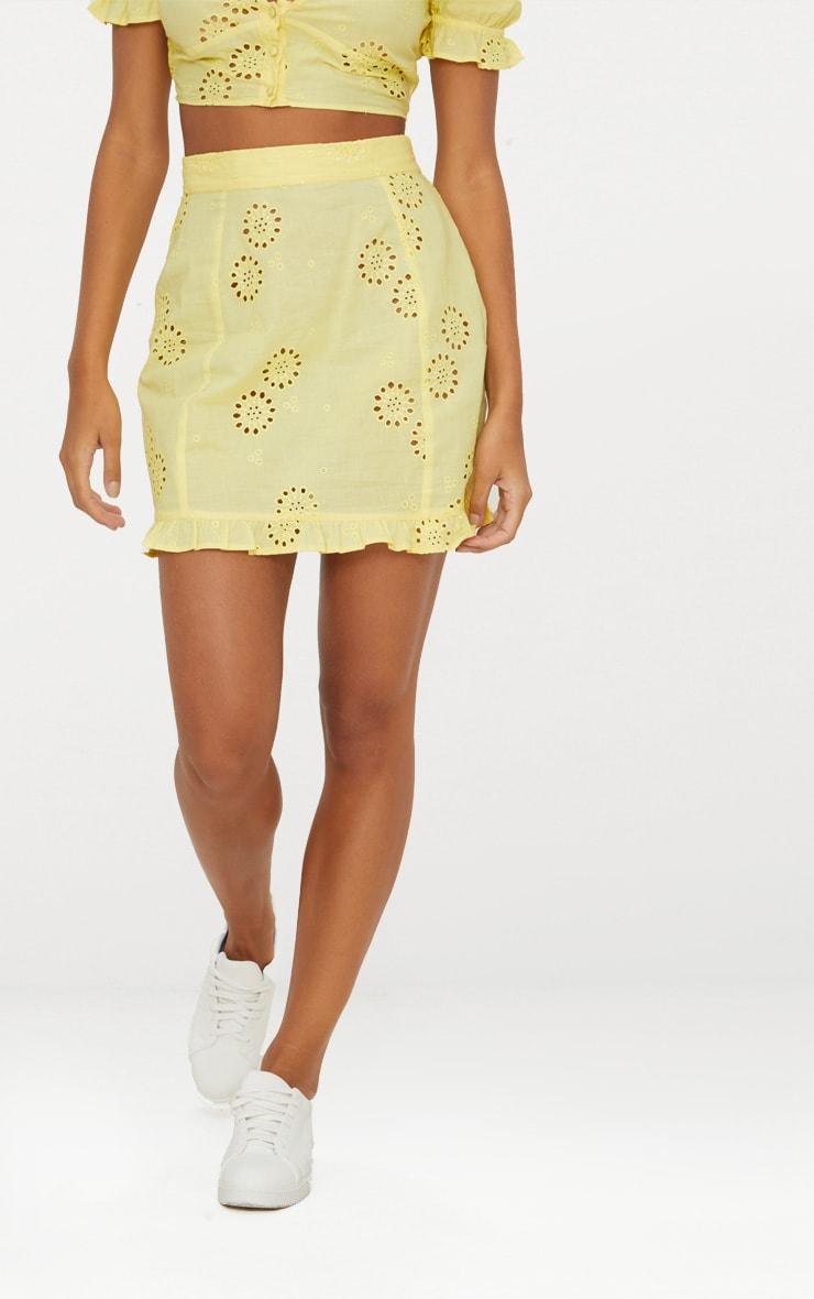 Lemon Embroidered Frill Hem Mini Skirt 2