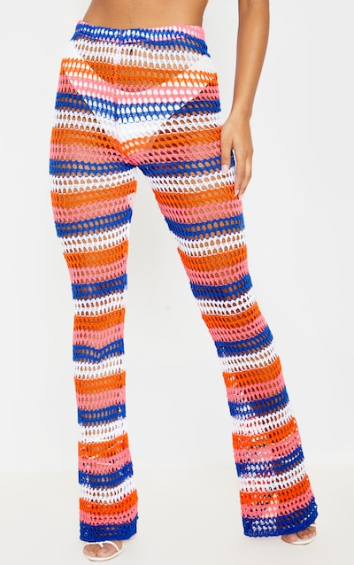 Blue Crochet Stripe Knitted Trouser