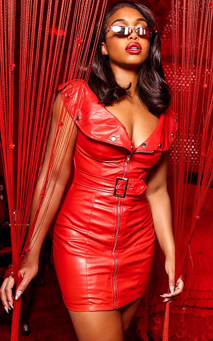 Red Faux Leather Bardot Waist Belt Bodycon Dress 1