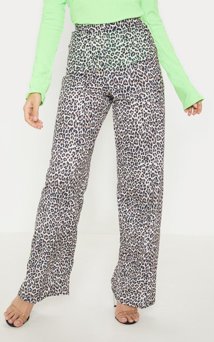 Petite Tan Leopard Print Neon Stripe Wide Leg Pants  2