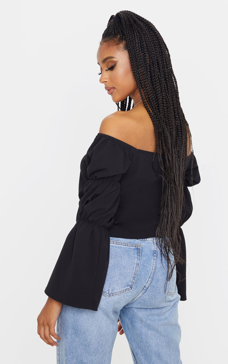 Black Crepe Lace Up Puff Long Sleeve Top 2