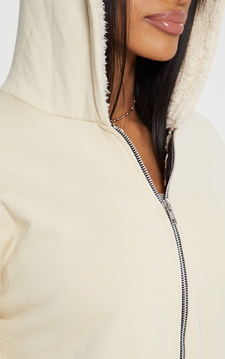 Cream Oversized Borg Lined Zip Up Hoodie 6