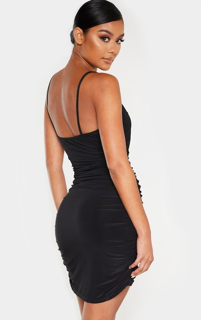 Black Slinky Strappy Ruched Side Detail Bodycon Dress