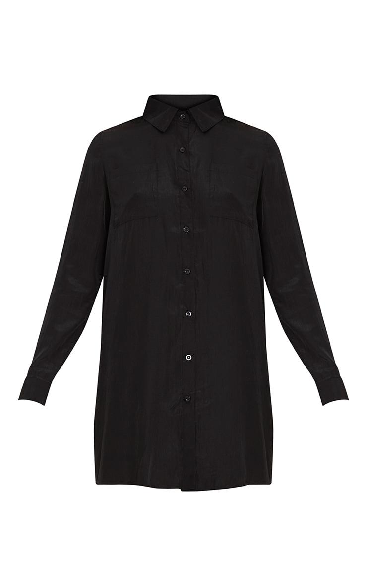 Reeana robe chemise noire toucher soie à appliqué fleuri 3