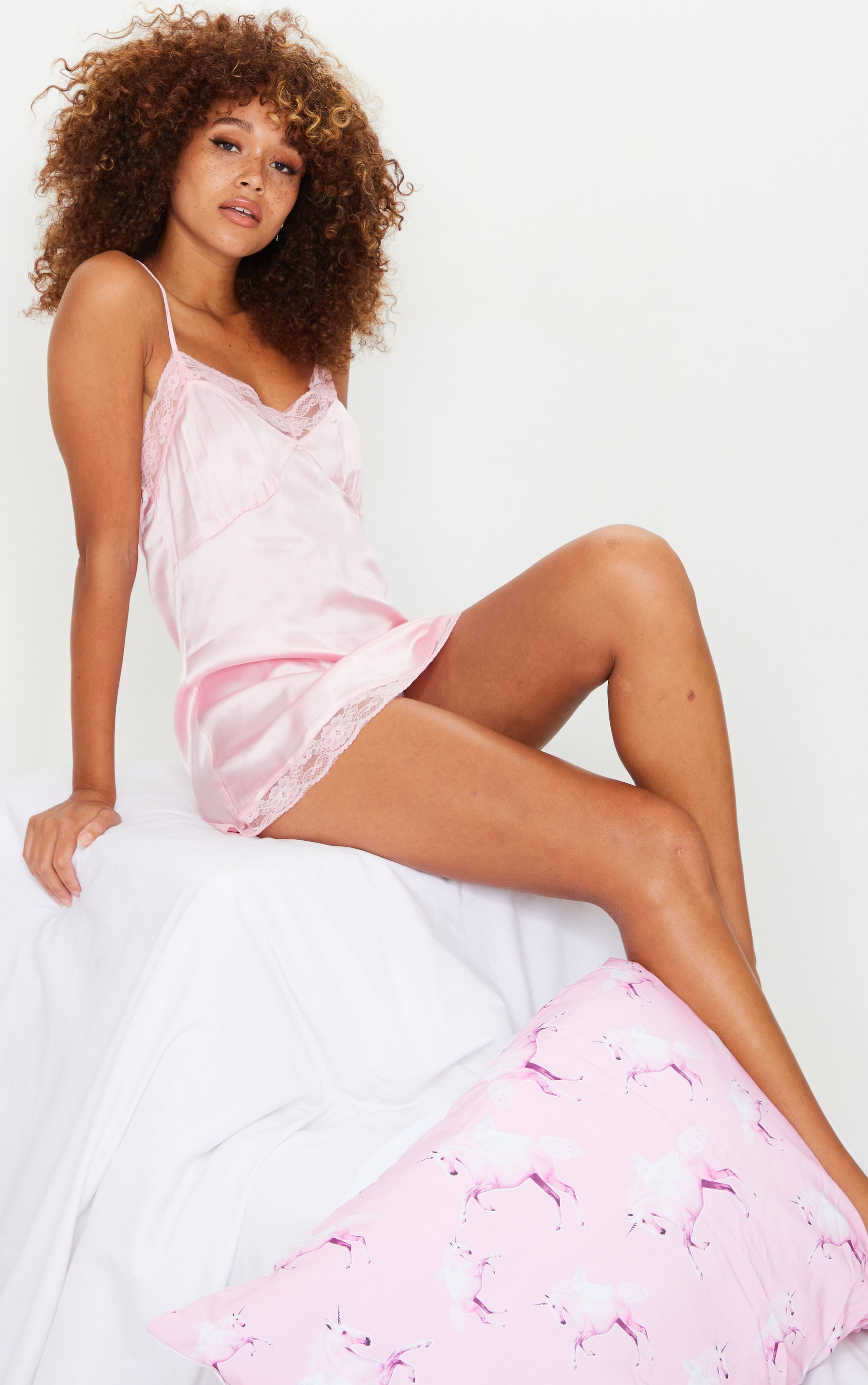 Baby Pink Lace Bow Back Satin Nightie