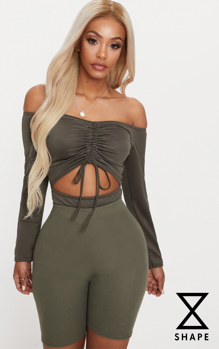 Shape Khaki Ruched Detail Bardot Bodysuit