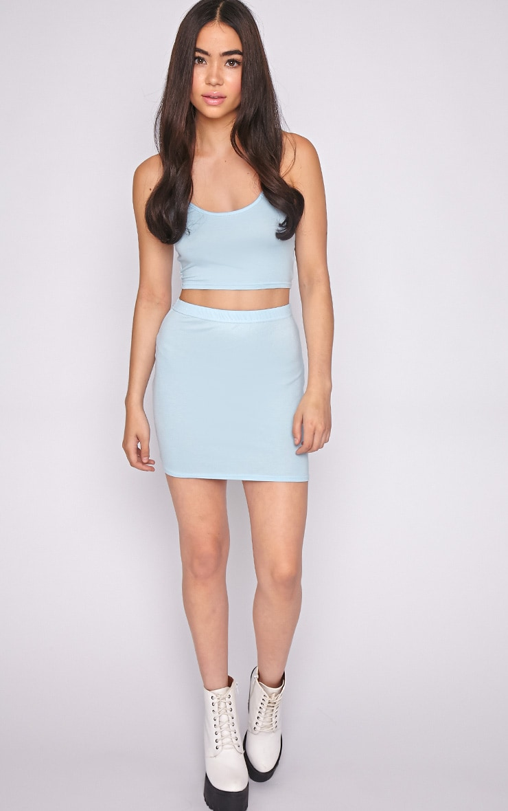 Basic Blue Jersey Mini Skirt 5