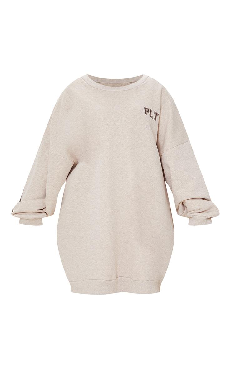 PRETTYLITTLETHING Plus Oatmeal Graphic Oversized Sweatshirt Dress 5