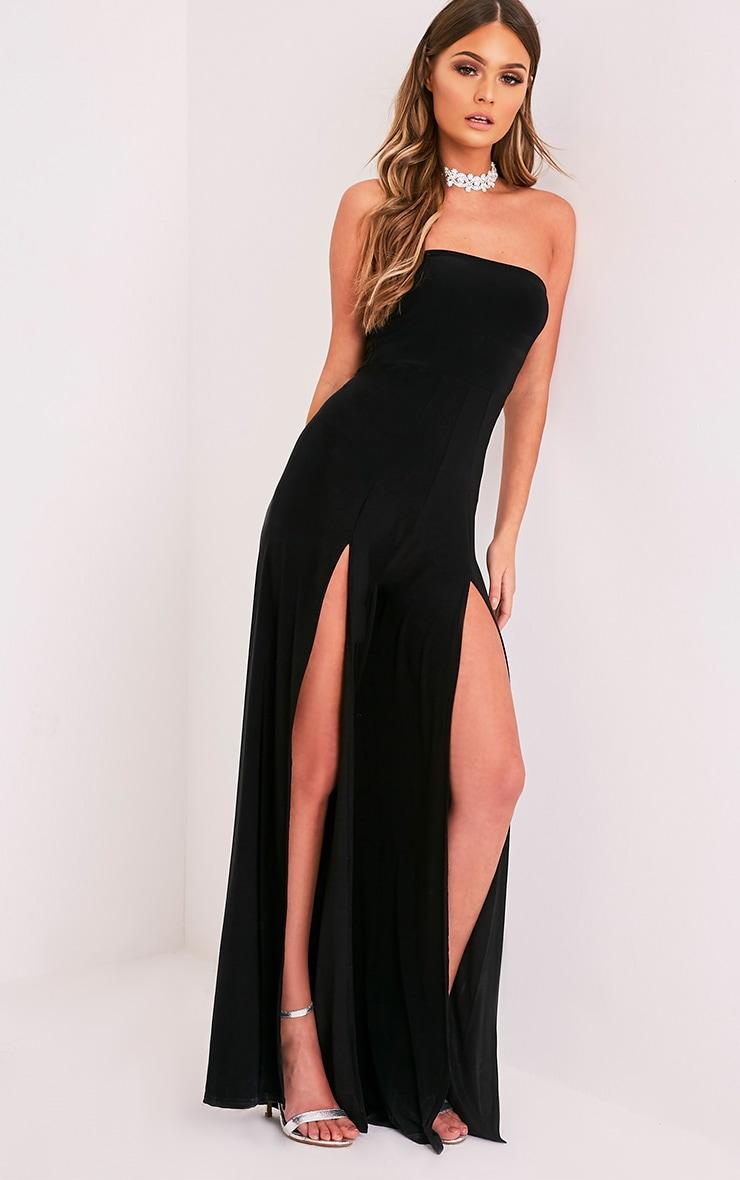 Tori Black Front Thigh High Split Slinky Bandeau Jumpsuit 5